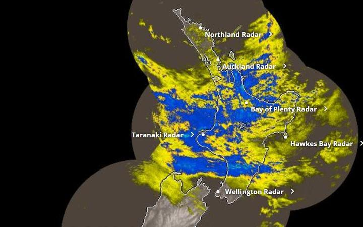 Rain over northern New Zealand late Monday morning 15 February 2021.