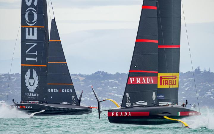 Team UK and Luna Rossa in the America's Cup Challenger Selection Series