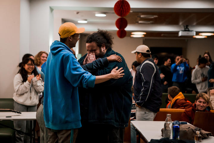 Alby gets emotional at his surprise farewell at Otago University