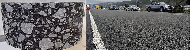 Motorways in New Zealand are made from asphalt concrete (left) which is made from chipping aggregate mixed with bitumen. The urban road at right has been recently chip sealed, which comprises a layer of aggregate on top of a thin layer of bitumen.