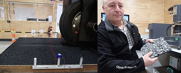 The accelerated pavement wear machine (left) is being used to test a base course made from rounded river gravel. Steve Bagshaw (right) is holding an example of chip seal made with epoxy bitumen which is rigid and self-supporting, unlike normal chip seal.