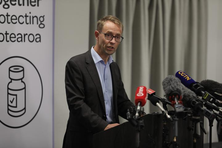 Ashley Bloomfield speaking at a media briefing after the first group of New Zealand border workers were vaccinated.