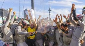 Luna Rossa celebrate winning the America's Cup Challenger Selection Series Finals against Team UK.