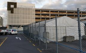 A tent set up at Ports of Auckland where workers are getting a Covid-19 vaccine.