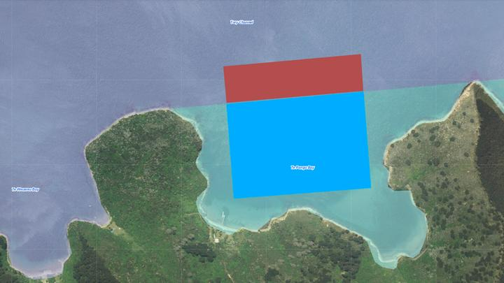 NZ King Salmon had hoped to extend its current Te Pangu Bay farm, in blue, another 8.25 hectares seawards, in red, but later pulled the application.