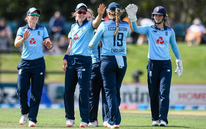 England celebrates the  wicket of Amelia Kerr of New Zealand during the 1st ODI Cricket match,