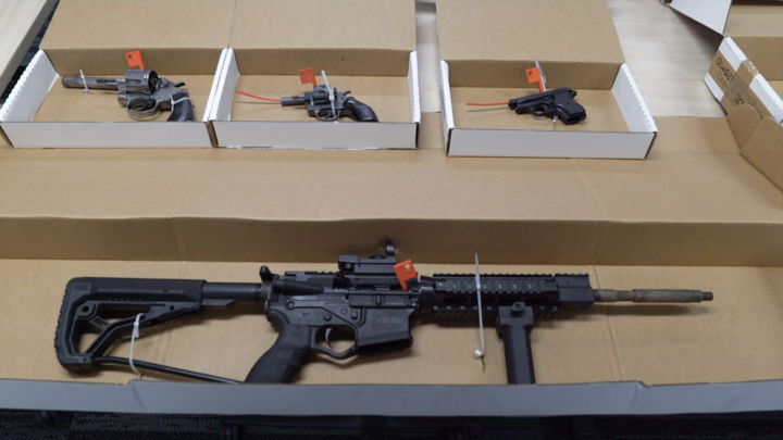 Some of the firearms seized in police's Operation Evansville.