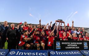 Crusaders celebrates winning the Super Rugby Aotearoa trophy, 2020.
