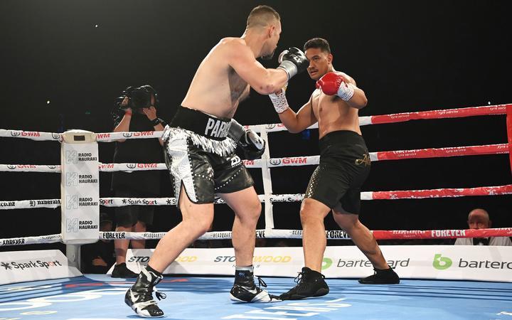 Joseph Parker (L) v Junior Fa, Heavyweight boxing. Joseph Parker v Junior Fa at Spark Arena in Auckland, New Zealand on Saturday February 27, 2021. © Mandatory photo credit: Andrew Cornaga / www.Photosport.nz