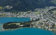 aerial shot of queenstown.