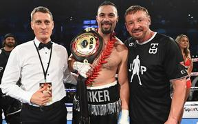 (L to R) David Higgins, Joseph Parker and trainer Kevin Barry,