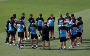The Blackcaps huddle during a Blackcaps training session at the Basin Reserve 2021.