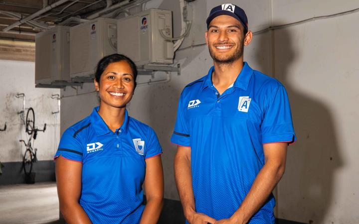 Samoa women's cricket captain Regina Lili'i and Samoa men's batsman Sean Solia.