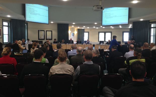 No public seating left at Auckland Council meeting on whether to drop 1080 in the Hunua Ranges.