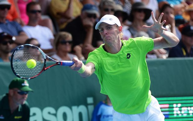 The South African tennis player Kevin Anderson in action at the 2014 Heineken Open.