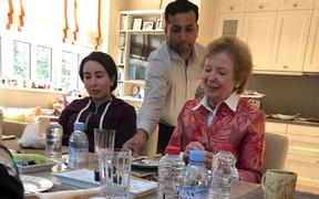 (FILES) This file handout photo provided by United Arab Emirates News Agency (WAM) on December 24, 2018 shows Sheikha Latifa bint Mohammed bin Rashid al-Maktoum (L) having a meal with Mary Robinson, former President of Ireland, at the Latifa's home in Dubai.