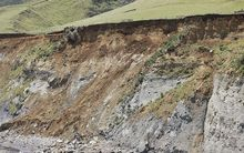 Coastal erosion at Tongaporutu in Taranaki
