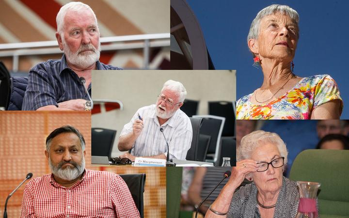 Clockwise from top left: Rotorua district councillor Peter Bentley, Paddi Hodgkiss, Glenys Searancke and Rotorua district councillor Raj Kumar. Centre: Rotorua district councillor Reynold Macpherson. SINGLE USE ONLY