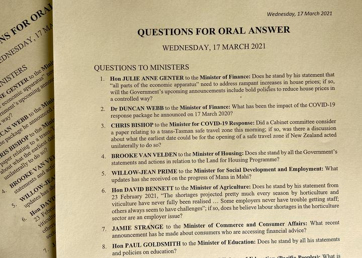 The sheet of Questions for Oral Answer that MPs get, printed on yellow paper. Note question 1: questions from support party MPs aren't always patsies. On today's list Green MP Julie Ann Genter asks the Minister of Finance about house prices.