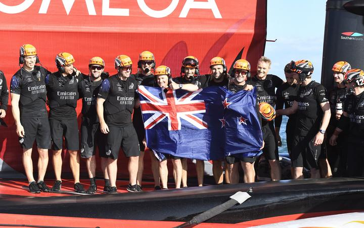 Team New Zealand celebrate winning the America's Cup, Race 10, Day 7 of the America's Cup presented by Prada.