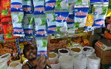 A Sri Lankan vendor sells New Zealand-made milk products in Colombo (August 2013).