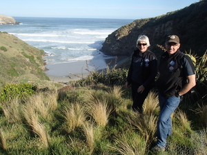Sue Murray, general manager of the Yellow-eyed Penguin Trust and field manager Dave McFarlane at the Trust's Otepahi Reserve