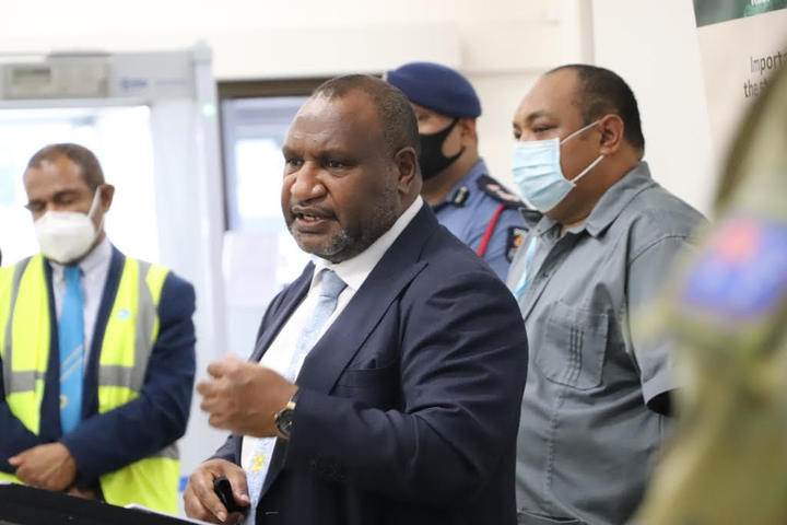 Papua New Guinea's Prime Minister James Marape gives a Covid-19 update for media, 23 March 2021