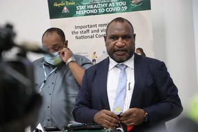 Papua New Guinea's Prime Minister James Marape addresses media regarding PNG's surge in covid-19 cases, 23 March 2021