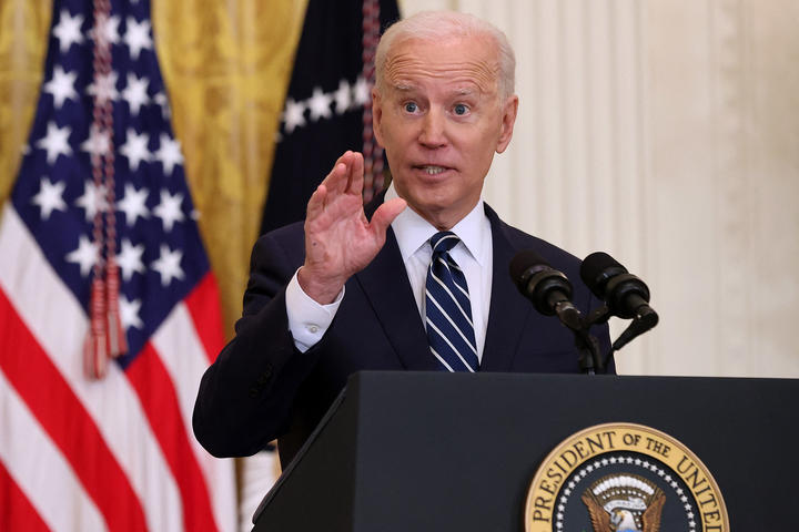 President Joe Biden talks to reporters during the first news conference of his presidency in the East Room of the White House on 25 March 2021 in Washington, DC.