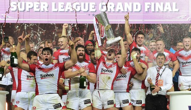 St Helens' players celebrate 2014 Super League win.