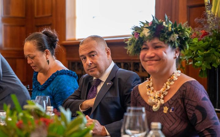 Cook Islands PM, Mark Brown (centre) during his visit to NZ