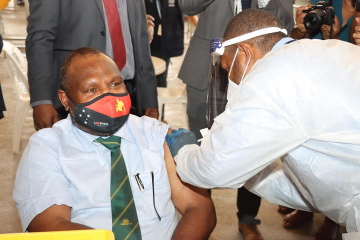 Papua New Guinea's Prime Minister James Marape was the first in his country to get the AstraZeneca Covid-19 vaccine. 30 March, 2021.