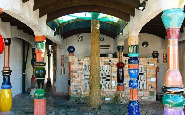 Toilets designed by Friedensreich Hundertwasser in Kawakawa.