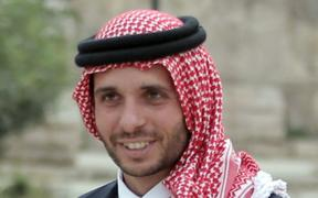 Jordan's Prince Hamzah Bin Al-Hussein attends a press event in Amman where Prince Ali announced his bid to succeed FIFA president Joseph Blatter on September 9, 2015.