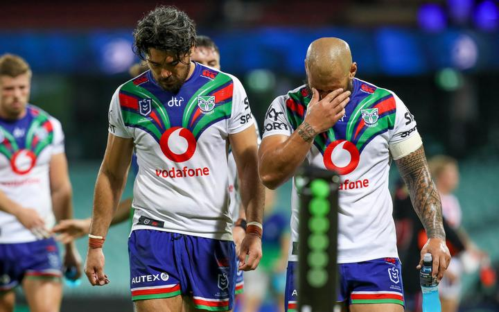 Tohu Harris and Leeson Ah Mau looking dejected after they were beaten by the Roosters. NRL Rugby League, Sydney Cricket Ground, NSW, Australia, Sunday 4th April 2021