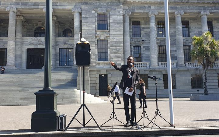 Justin Sobion outside Parliament