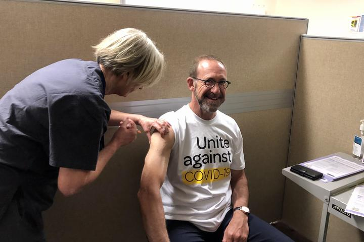 Health Minister Andrew Little receives a Covid-19 vaccine, Wellington, 7 April 2021.
