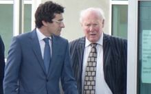 Edward Sullivan (on right) arriving at the High Court in Timaru.