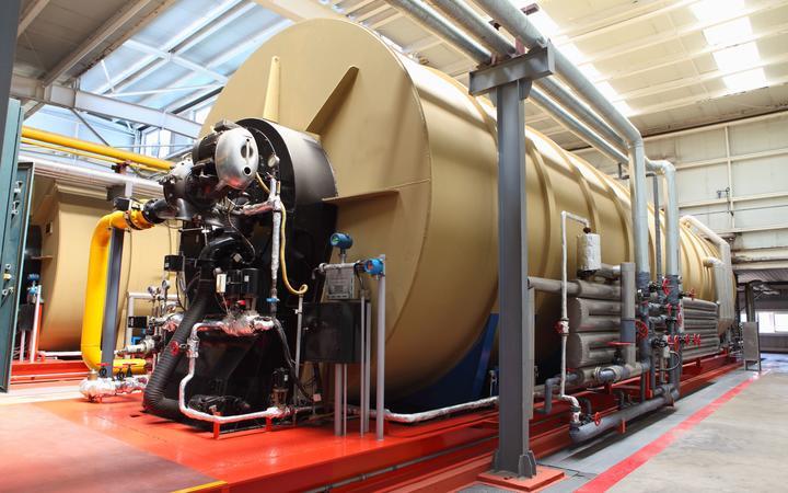 modern boiler room equipment for heating system  pipelines, valves, manometers.