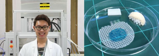 A photo of Khoon Lim in front of the 3D bioprinter, and some printed biocompatible scaffolds