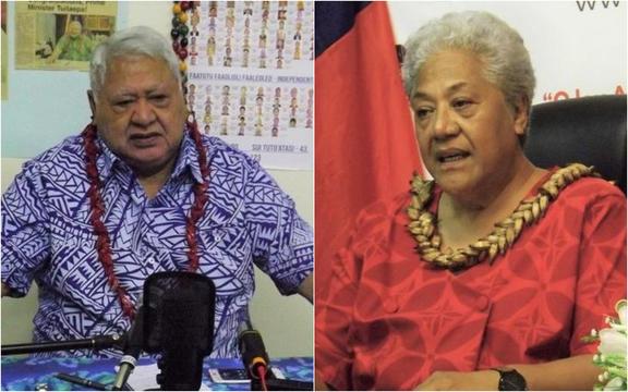 Tuilaepa Sailele Malielegaoi, left, and Fiame Naomi Mata'afa