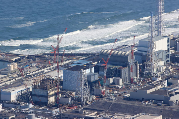An aerial photo shows Fukushima No. 1 nuclear power plant in Okuma town, Fukushima Prefecture on April 7, 2021.