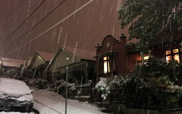 Snow falling in Lithgow in the Blue Mountains west of Sydney.