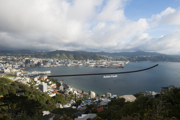 This image shows where the newly discovered Aotea fault crosses Wellington Harbour.