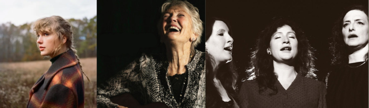 Taylor Swift; Peggy Seeger; The Unthanks - album cover images
