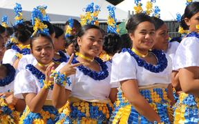 The Tongan group from Auckland Girls Grammar School get ready for the big stage on day 4 of Polyfest.
