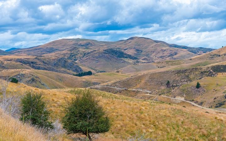 Landscape of Otago region viewed from Central Otago Railway bicycle trail in New Zealand