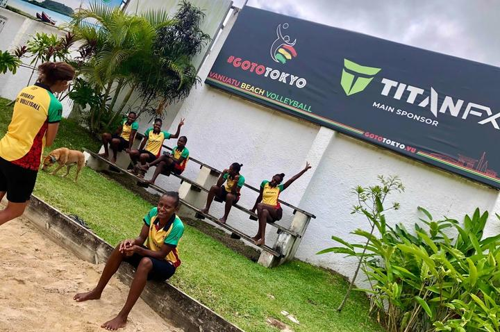 Team Vanuatu is all smiles during training.