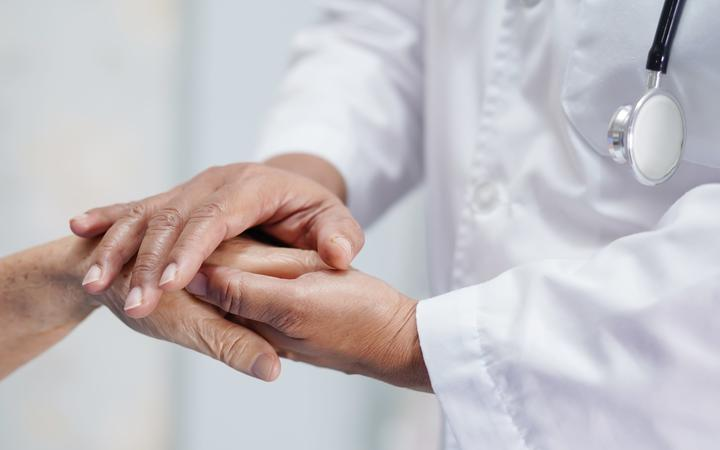 Holding Touching hands senior or elderly old lady woman patient with love, care, helping, encourage and empathy at nursing hospital ward : healthy strong medical concept