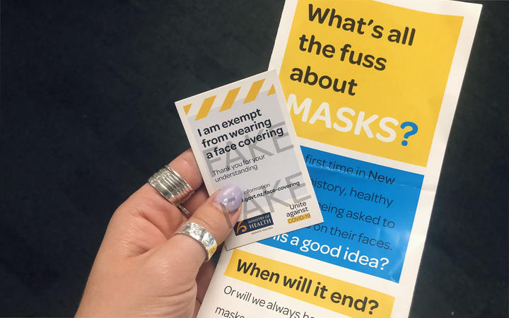 Anti masks flyer given to Wellington train commuters.
